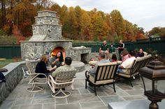 Outdoor fireplace and stone patio... great for entertaining