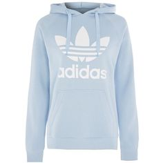 Trefoil Hoodie by Adidas Originals ($65) ❤ liked on Polyvore featuring tops, hoodies, pale blue, blue top, cotton hoodies, cotton hooded sweatshirt, sweatshirt hoodies and hooded pullover