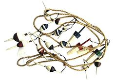 Fishing Bobber Garland 9 Feet Long with 17 Wood Bobbers on Jute Rope ** Check out the image by visiting the link.
