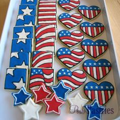 Shop for cheap Star & Heart Shaped Memorial Day Patriotic Sugar Cookies Patriotic Sugar Cookies, Star Sugar Cookies, Blue Cookies, Patriotic Desserts, Summer Cookies, Fancy Cookies, Iced Cookies, Holiday Cookies, Cupcake Cookies