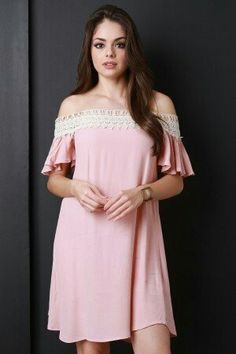 Try this! Crochet Trim Off The Shoulder Shift Dress