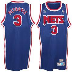 53e9c309e11d25 Men's New Jersey Nets Drazen Petrovic adidas Royal Blue Hardwood Classics  Swingman Jersey