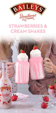 Keep things sweet with NEW Limited Edition Baileys Strawberries & Cream for your girls night in. It's the perfect way to treat yourself (and your friends!) In a blender, add 4 oz. Baileys Strawberries & Cream, 2 large scoops of vanilla ice cream, 1 cup milk, and 1/2 cup frozen strawberries. Pour into two glasses. Top with whipped cream, heart sprinkles, strawberry sauce, and fresh strawberries! (serves 2)