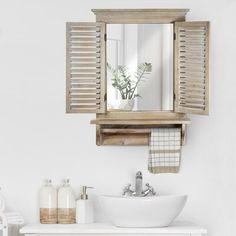 Rustic Shutters, Old Shutters, Window Shutters, Repurposed Shutters, Wall Mirror With Shelf, Rustic Wall Mirrors, Wall Shelves, Wood Mirror, Shelving