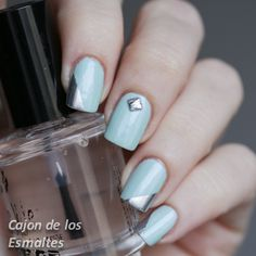 Mint and Silver - Studs from @bornprettynails   #notd #nailart