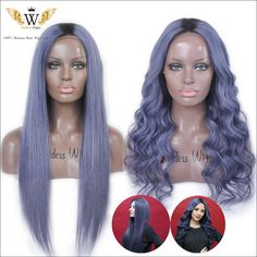 Find More Human Wigs Information about 7A 130 Density Dark Blue Gray Human Hair Front Lace Wigs Brazilian Virgin…