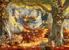Autumn Fairy a fairy birthday card by Ruth Sanderson from Leanin' Tree. An autumn fairy dancing among the fallen autumnal leaves. Woodland Fairy, Forest Fairy, Fairy Land, Fairy Tales, Deep Forest, Fantasy Kunst, Fantasy Art, Decoupage, Fairy Wallpaper