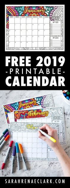 Free 2019 Printable Coloring Calendar,Combine creativity with productivity with this printable 2019 coloring calendar! 12 months of coloring designs, with space included to write your goal. Free Coloring Pages, Printable Coloring, Coloring Books, Colouring, Printable Calendar Template, Printable Planner, Free Printables, Kids Calendar, Calendar Design