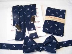 MENS SUSPENDERS - Pocket Square and Bow Tie  Tossed Anchors Navy and White