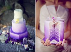 A creative way to tie in your wedding colors!. Ombre layer cake!