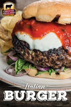 The flavors of Italy come together in this luscious burger dripping with tomato sauce and melted cheese.