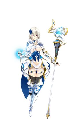 1girl armor armored_boots artist_request black_legwear boots breasts capelet elbow_gloves fingerless_gloves full_body gauntlets gloves grace_(sennen_sensou_aigis) hair_ornament highres holding large_breasts leotard looking_at_viewer red_eyes sennen_sensou_aigis short_hair simple_background smile solo staff standing thigh-highs white_background white_hair