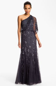 Adrianna Papell Beaded One Shoulder Gown available at #Nordstrom