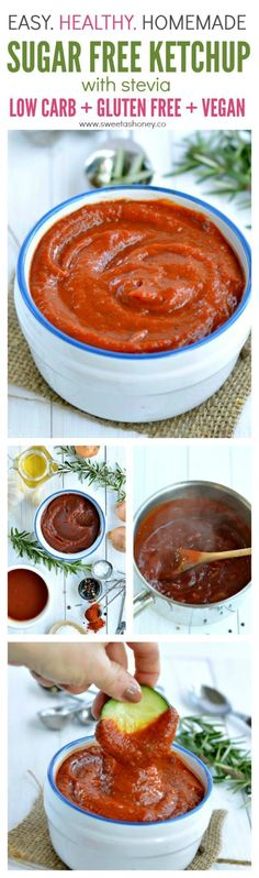Low Carb Homemade Sugar free ketchup recipe. A delicious and easy tomato sauce recipe with stevia, tomatoes and natural products. An healthy alternative to store bought ketchup.