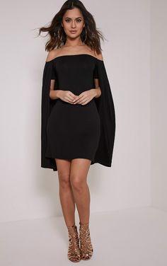 Louysa Black Bardot Cape Bodycon Dress Image 2
