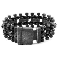 Km /_ Herren Fantastisch Schwarz Edelstahl Gummi Armband Armreif Jungen Cool