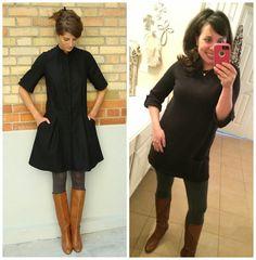 Pinterest Told Me To - black tunic, grey leggings, tan boots