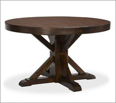 "Benchwright Extending Pedestal Dining Table - Rustic Mahogany stain 48"" opens with leaf to 72"""