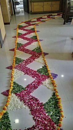 12 Types of Flower Rangoli Designs for different areas Rangoli Designs Flower, Colorful Rangoli Designs, Rangoli Ideas, Rangoli Designs Diwali, Rangoli Designs Images, Beautiful Rangoli Designs, Diwali Rangoli, Diwali Decorations At Home, Stage Decorations