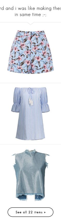 """""""3rd and i was like making these in same time ;-;"""" by blackwidow3 on Polyvore featuring shorts, tailored shorts, patterned shorts, print shorts, summer shorts, dresses, rosegal, blue off shoulder dress, off the shoulder shift dress i blue stripe dress"""