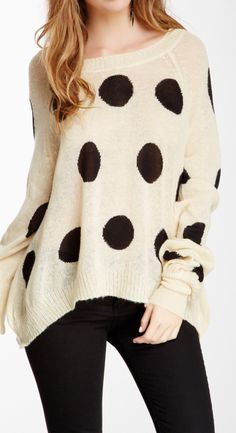 Wildfox Polka Dot It Pfeiffer Sweater by Non Specific on Passion For Fashion, Love Fashion, Girl Fashion, Fashion Outfits, Womens Fashion, Fasion, Pretty Outfits, Cool Outfits, Casual Chic Style