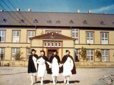 Four nurses walking away from hospital. Iceland - June 1942