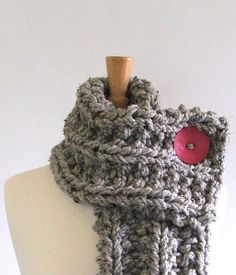Chunky Knit Marbled Silver Gray Cowl Scarf with by AMarieKnits, $39.00