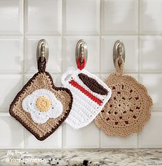 Featuring classic diner treats, these crocheted pot holders will be the talk of the breakfast table! (Yarnspirations)