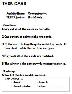 Addition Subtraction Bar Models: Common Core Story