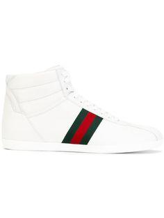 ea318491c Shop Gucci Web detail hi-top sneakers. Gucci Sneakers, Gucci Shoes, Leather