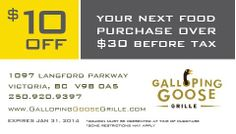 $10 OFF your next food purchase at Galloping Goose Grille, and stick around for bowling at Langford Lanes! Online Coupons, Bowling, Food, Meal, Essen, Hoods, Meals, Eten