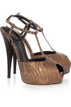 Giuseppe Zanotti Metallic snake effect leather sandals