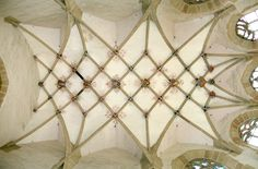 The Église Saint-Nizier (St. Nizier Church) is a Flamboyant Gothic church built during the Ceiling Decor, Ceiling Design, Ceiling Lights, Gothic Architecture, Architecture Details, Hereford Cathedral, Ribbed Vault, Church Of Our Lady, Cathedral Church