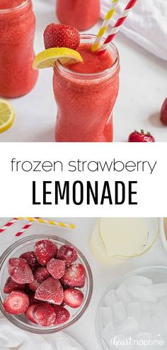 This frozen strawberry lemonade is a delicious blend of sweet strawberries and fresh lemonade, blended to slushy perfection. It's the perfect cool treat for summer. #strawberry #strawberries #lemon #lemons #lemonade #strawberrylemonade #frozen #frozendrinks #drinks #summerdrinks #summerrecipes #recipes #iheartnaptime Frozen Strawberry Recipes, Frozen Strawberry Lemonade, Strawberry Drinks, Recipes With Frozen Strawberries, Fruity Drinks, Healthy Drinks, Lemon Smoothie, Smoothie Recipes, Smoothies