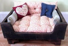 Dog Bed Wooden Elevated Crate Pets Cat Couch Furniture PRIMITIVE ROSE BED Ready to Order