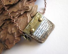 Handmade miniature aged book charm necklace by PepperboxCreations