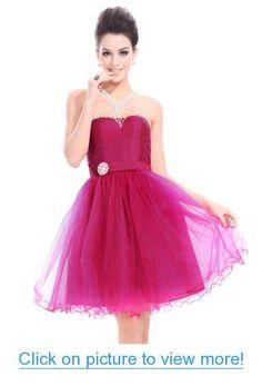 Ever-Pretty Strapless Hot Pink Quinceanera Damas Empire Waist Party Dress 03444 #Ever_Pretty #Strapless #Hot #Pink #Quinceanera #Damas #Empire #Waist #Party #Dress