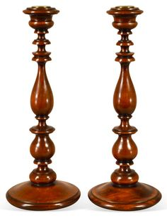 19th-C. English Walnut Candlesticks, Pr