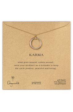 Dogeared 'Karma' Mixed Metal Charm Necklace