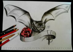 Vampire bat with bleeding rose and cross by LindaDraven on DeviantArt