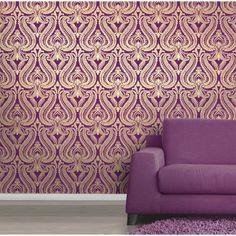 I Love Wallpaper™ Shimmer Damask Metallic Wallpaper Purple / Gold - I Love Wallpaper™ from I love wallpaper UK