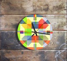 Perfect gift for house warming party. Amazing colorful Checked clock – a unique product by Clock4you via en.DaWanda.com