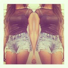 #black #mesh #denim #shorts #outfit #style #fashion