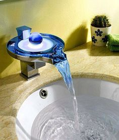 Give Your Bathroom An Eye Catching Wow Factor By Installing This Color  Changing Waterfall Faucet. This Stunning Piece Comes With Built In  Temperature ...