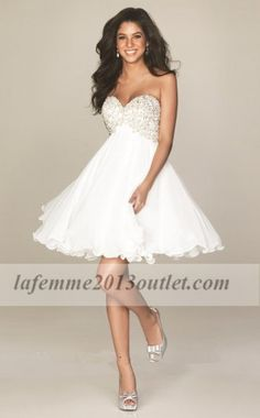 Short White Sparkly Top Allure A408 Lace Prom Dresses : Cheap La Femme Dresses, La Femme Dresses On Sale