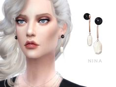 The Sims Resource: Earrings NINA by Starlord • Sims 4 Downloads