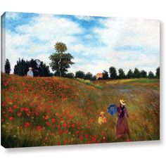 Claude Monet Red Poppies At Argenteuil Gallery-Wrapped Canvas, Size: 18 x 24, Multicolor