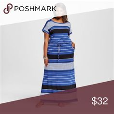 "Ava & Viv Striped Jersey Knit Maxi Dress • NWT Elastic waistline w/ drawstring tie Striped print in blue, black, & white Blouson style 17"" slits at the bottom 2 front pockets Measurements: 50"" Bust (armpit to armpit relaxed - stretches to 64"" • Waist: 38"" relaxed - stretches to 56"" • Hips 53"" relaxed Length: 62"" • top of shoulder to bottom hem • Fabric Content: 95 Rayon/5 Spandex • Fabric Care: Machine Wash Ava & Viv Dresses Maxi"