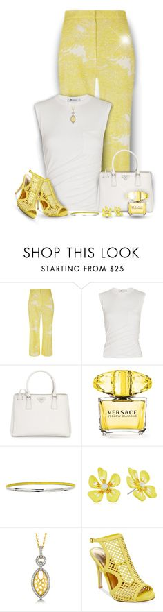 """""""Mellow Yellow"""" by truthjc ❤ liked on Polyvore featuring The 2nd Skin Co., Alexander Wang, Prada, Versace, Betsey Johnson, BERRICLE and Madden Girl"""