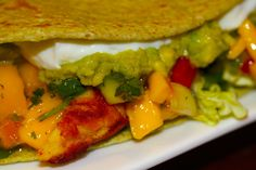 Chili-Lime Fish Tacos with Mango-Hot Pepper Jelly-Jalapeño Salsa...served with Lemony Garlic Guacamole, nonfat sour cream & a warm, soft tortilla...